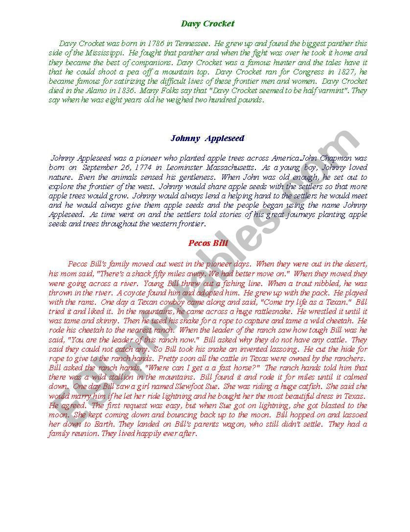 Tall Tale Reading Comprehension Worksheets Tall Tales with Prehension Questions Quiz and Vocabulary