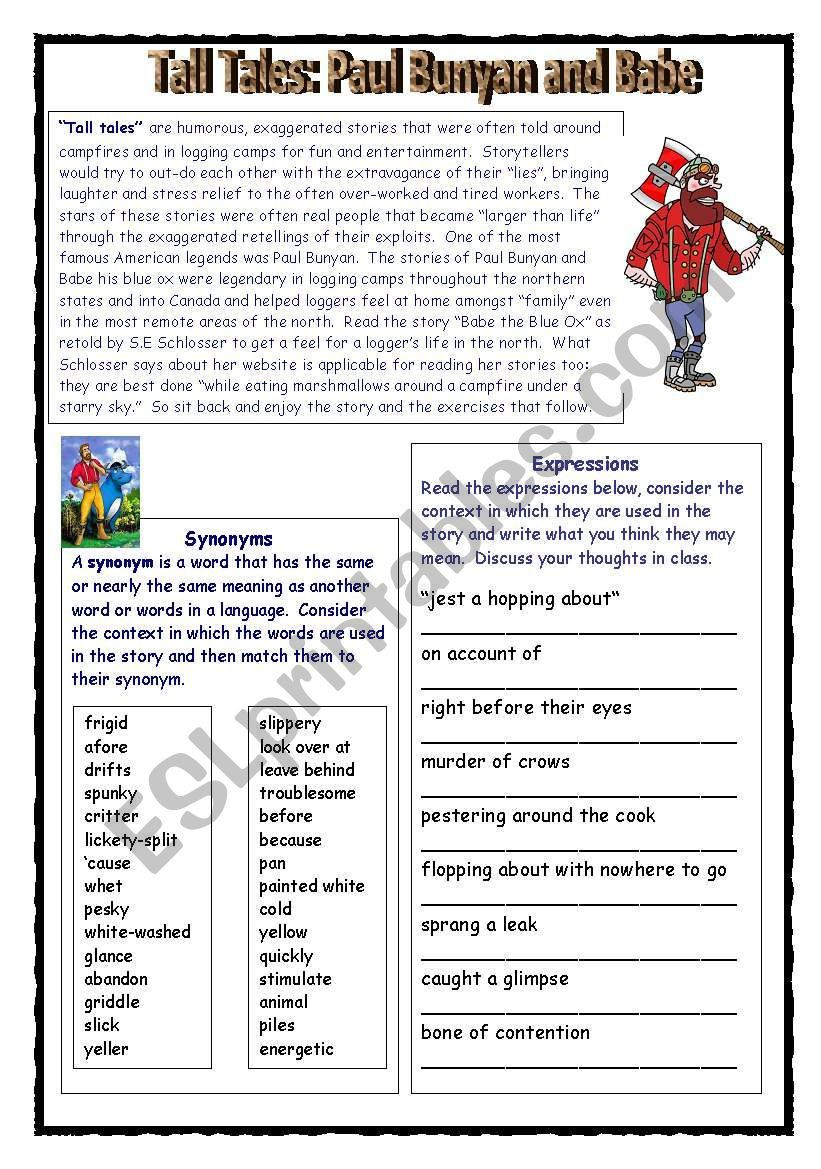 Tall Tale Reading Comprehension Worksheets This Reading Prehension Worksheet About the American Tall