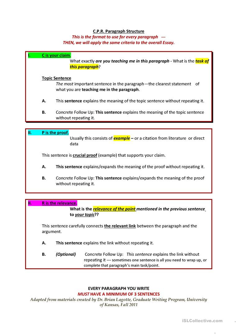 Teaching Paragraph Writing Worksheets Cpr Paragraph and Essay Structure English Esl