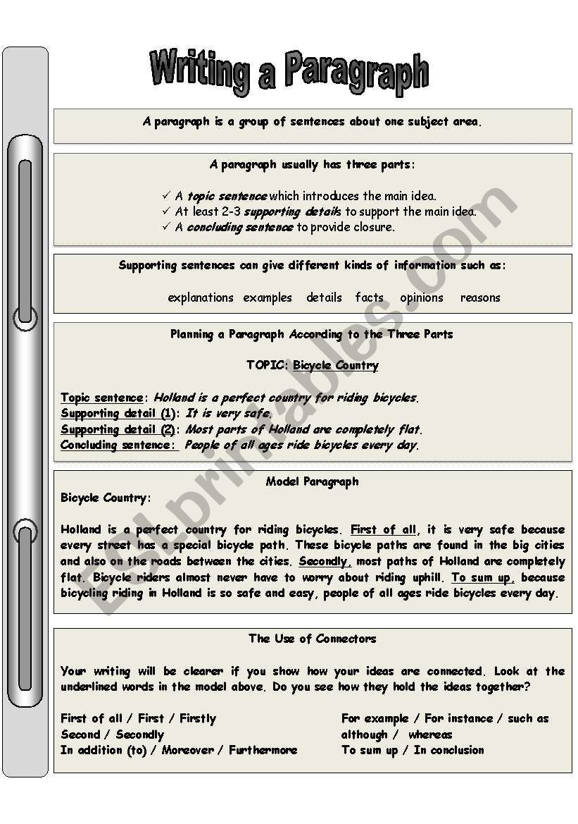 Teaching Paragraph Writing Worksheets Guide for Writing A Paragraph Part 1 Esl Worksheet by