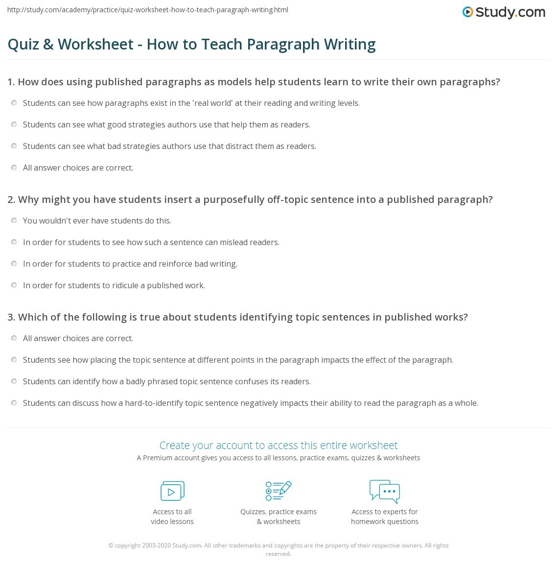 Teaching Paragraph Writing Worksheets Quiz & Worksheet How to Teach Paragraph Writing