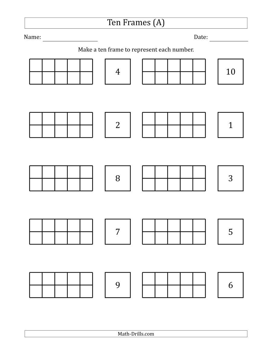Ten Frame Math Worksheets Blank Ten Frames with the Numbers In Random order A