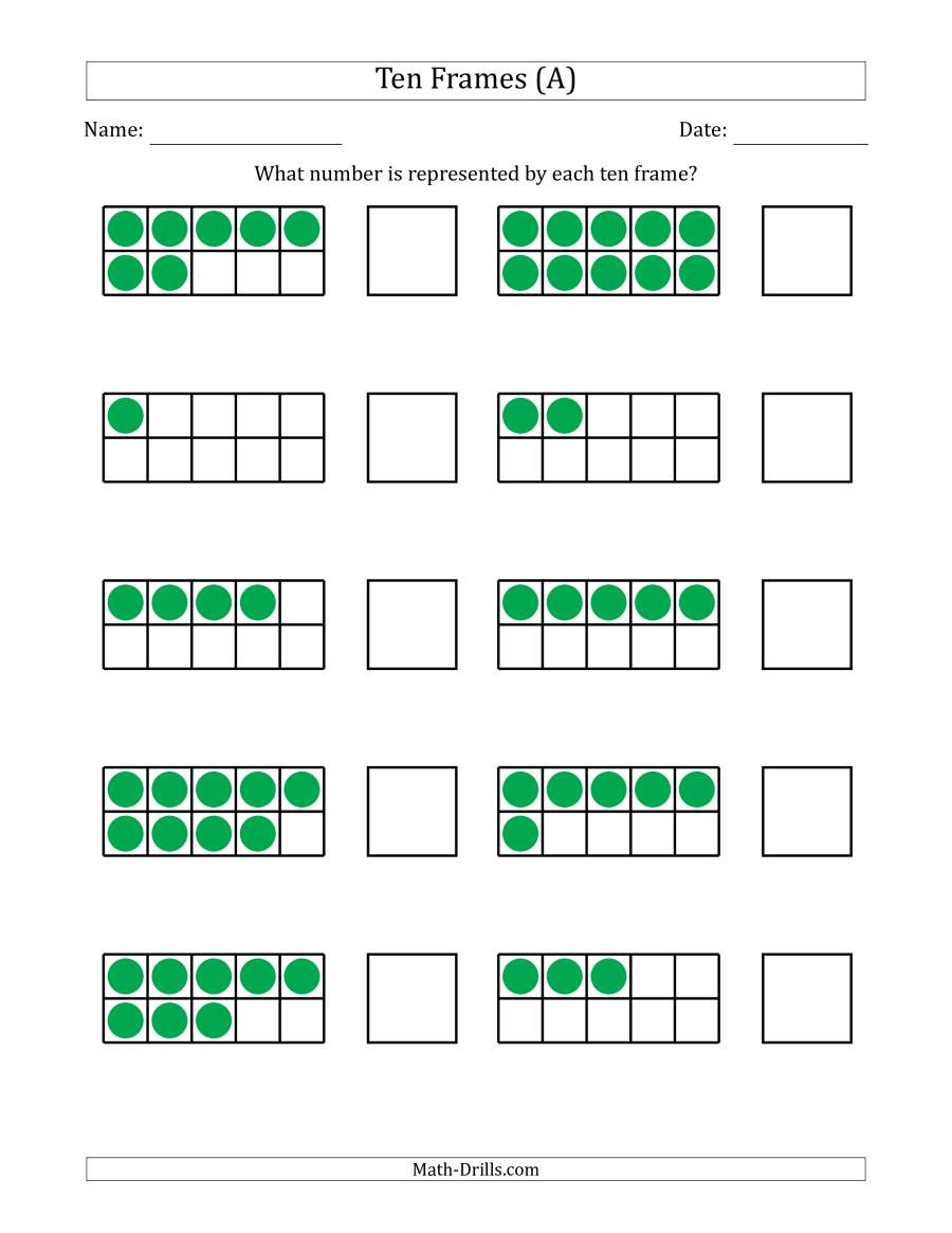 Ten Frame Math Worksheets Pleted Ten Frames with the Numbers In Random order A
