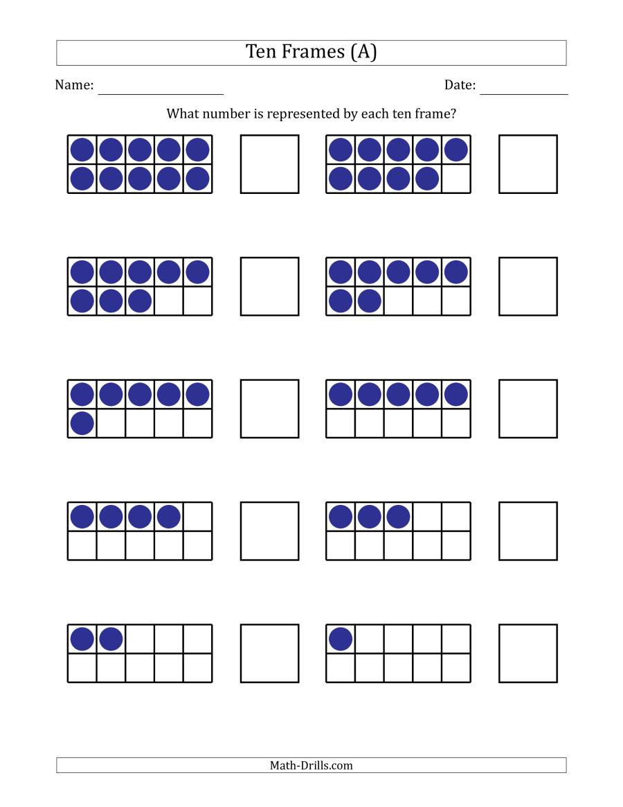 Ten Frame Math Worksheets Pleted Ten Frames with the Numbers In Reverse order A