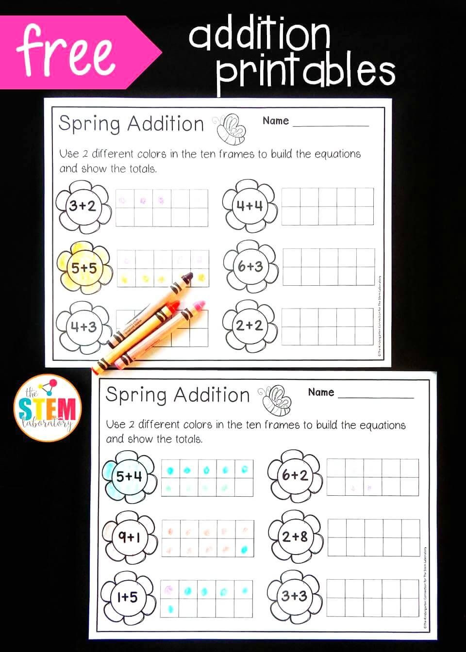 Ten Frame Math Worksheets Spring Ten Frame Addition the Stem Laboratory