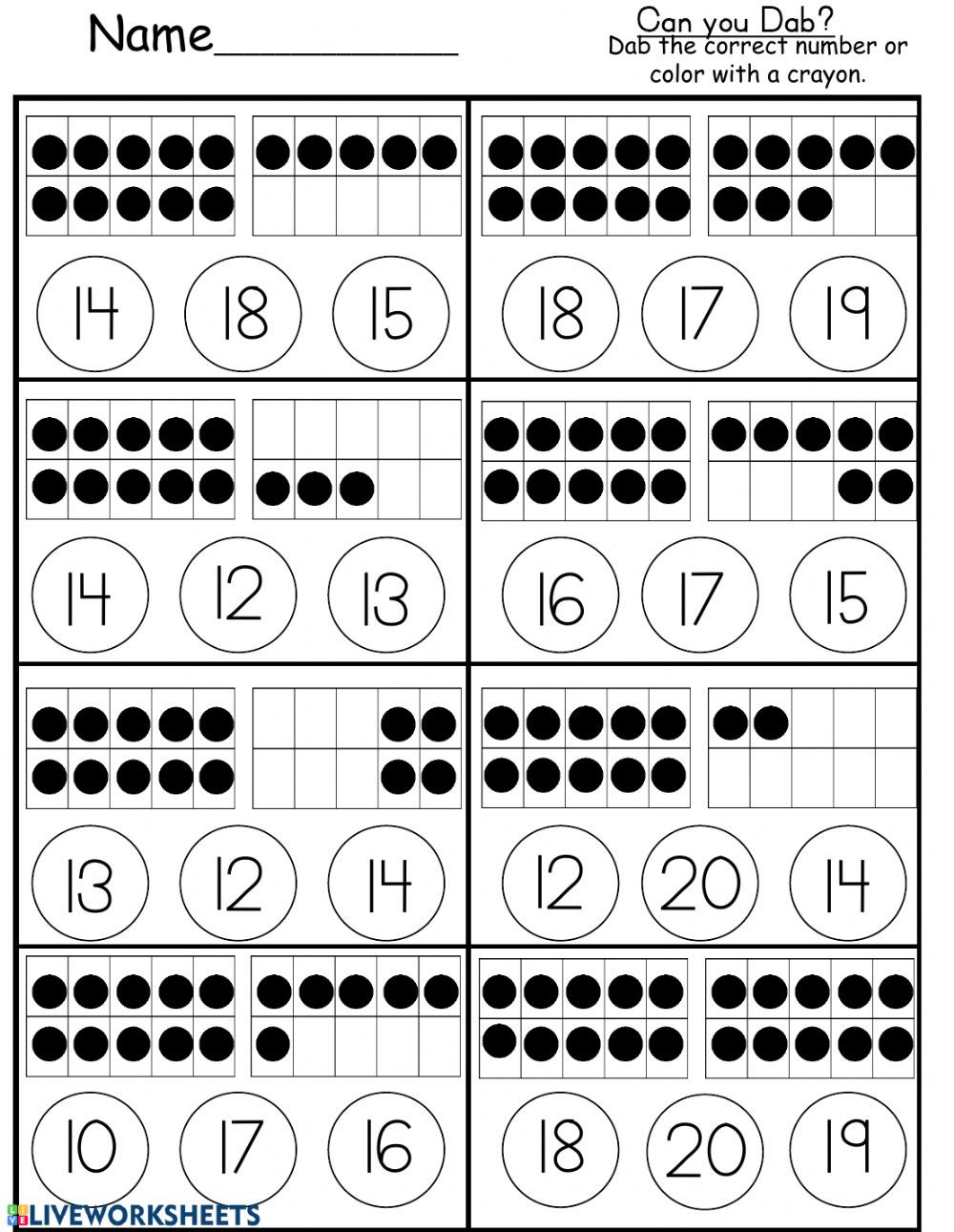 Ten Frame Math Worksheets Ten Frame Counting to 20 Interactive Worksheet