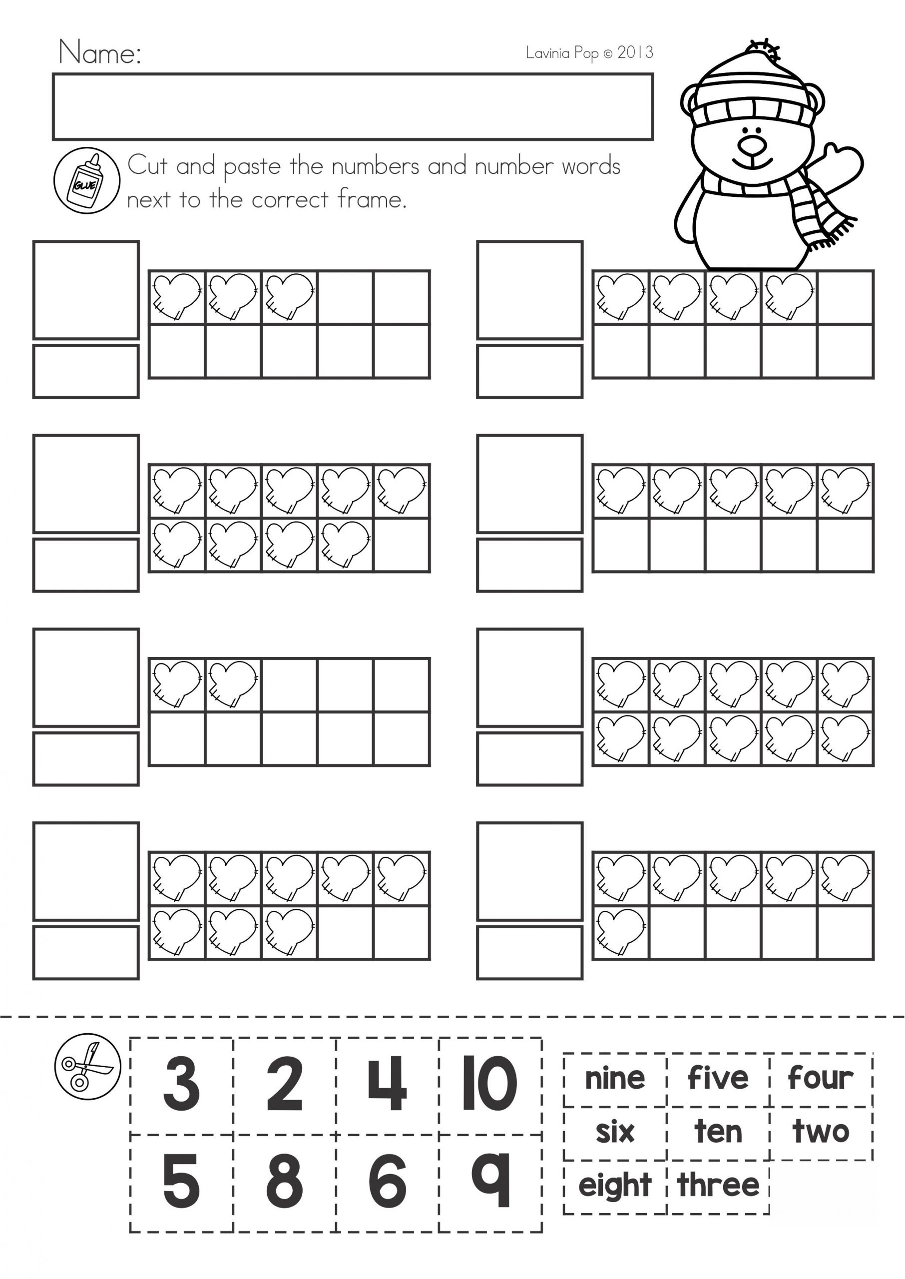 Ten Frame Math Worksheets Winter Math Worksheets & Activities No Prep