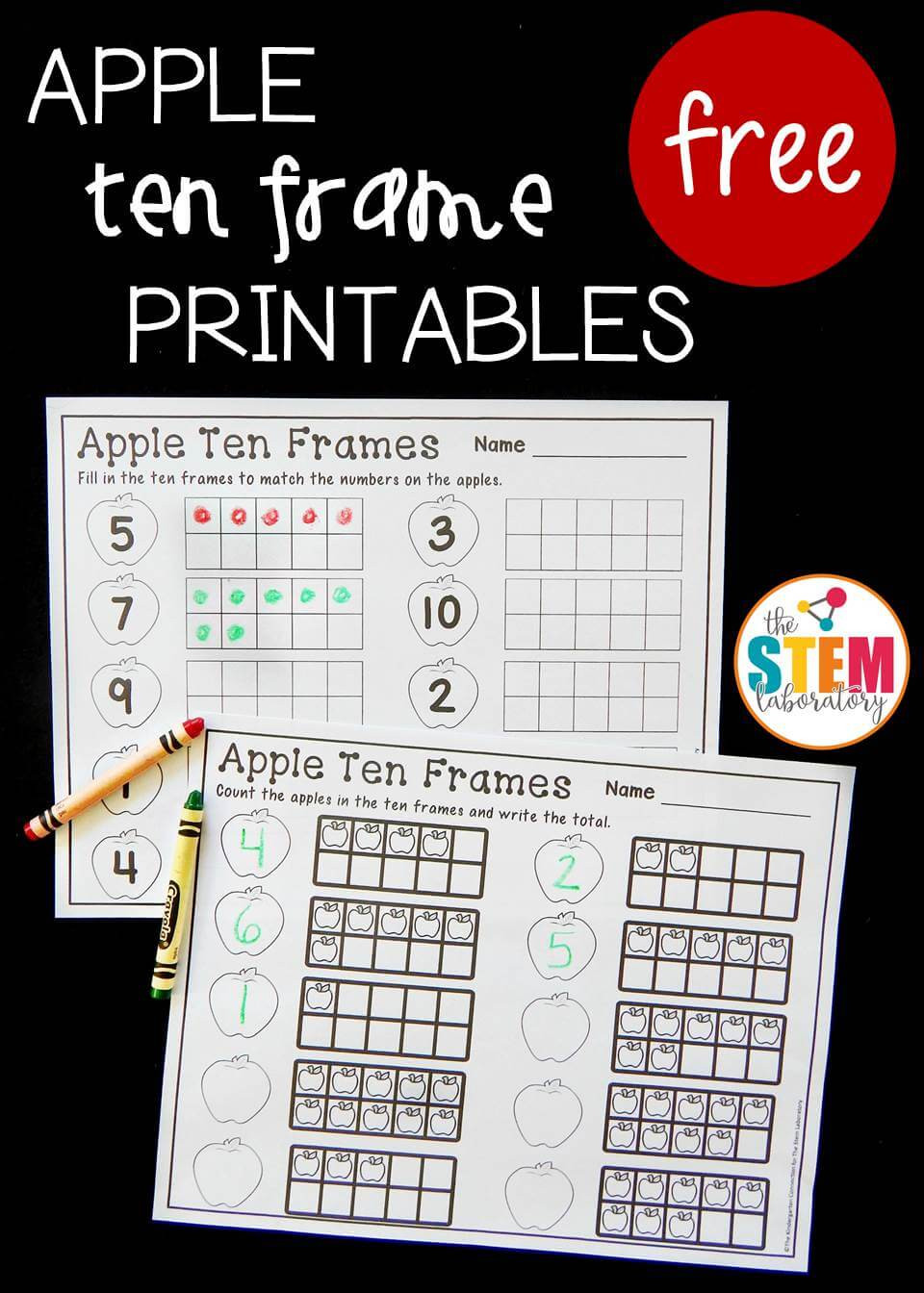 Ten Frame Worksheets First Grade Apple Ten Frame Printables the Stem Laboratory