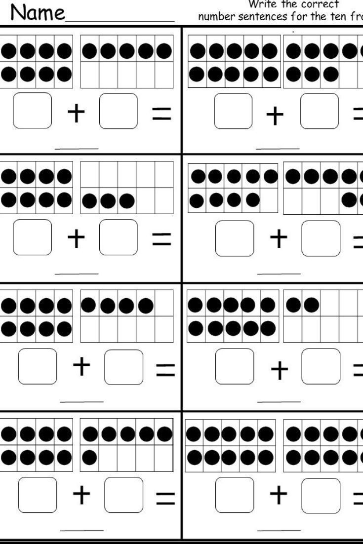 Ten Frame Worksheets First Grade Free Ten Frame Addition Printable