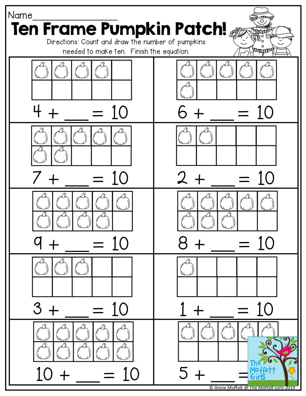 Ten Frame Worksheets First Grade October Fun Filled Learning Resources