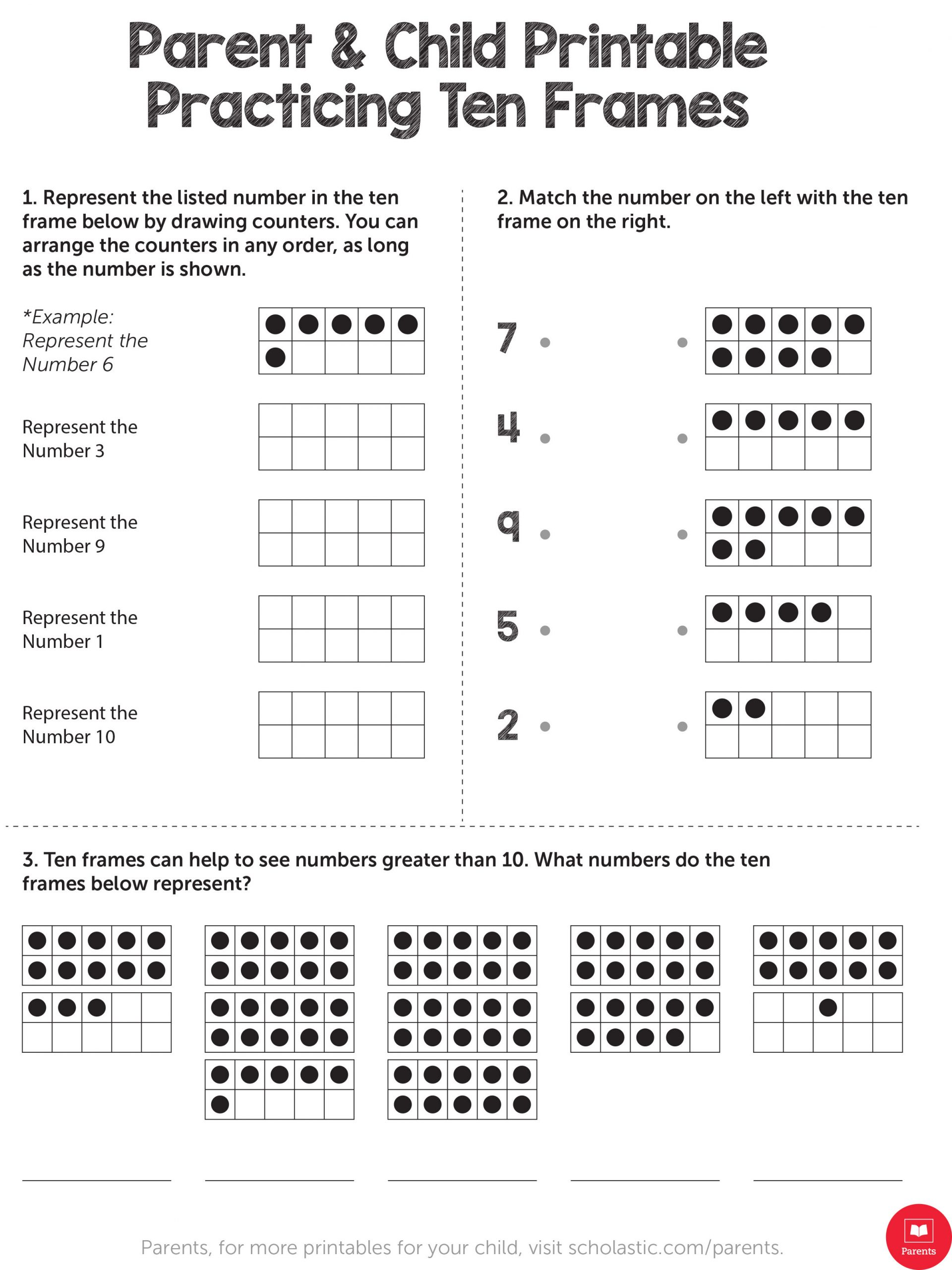 Ten Frame Worksheets First Grade Practicing Ten Frames Worksheets & Printables