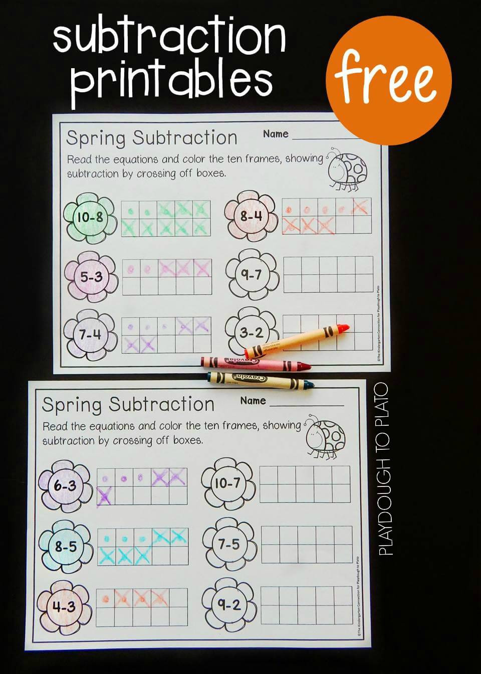 Ten Frame Worksheets First Grade Spring Ten Frame Subtraction Playdough to Plato