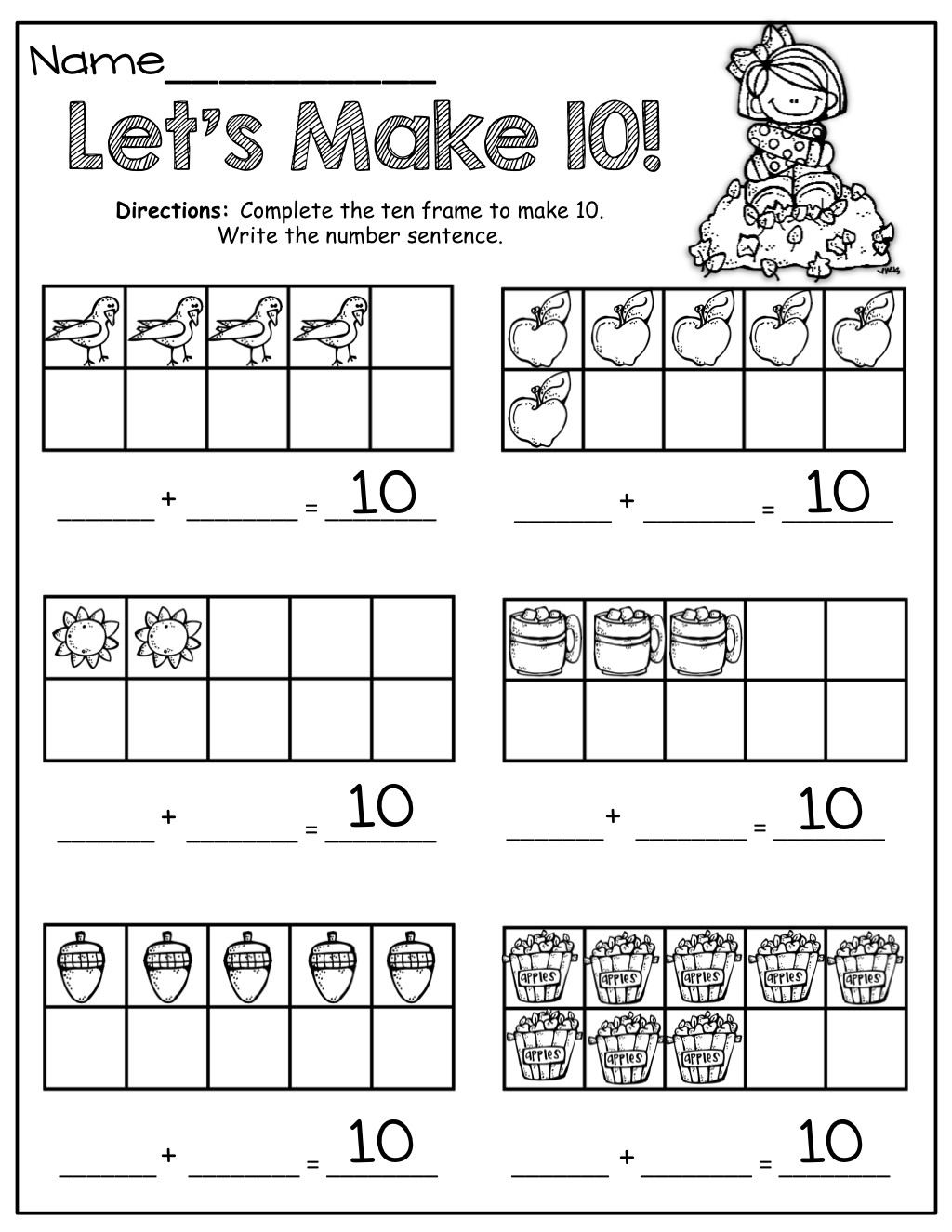 Ten Frame Worksheets First Grade Ten Frame Practice Worksheets