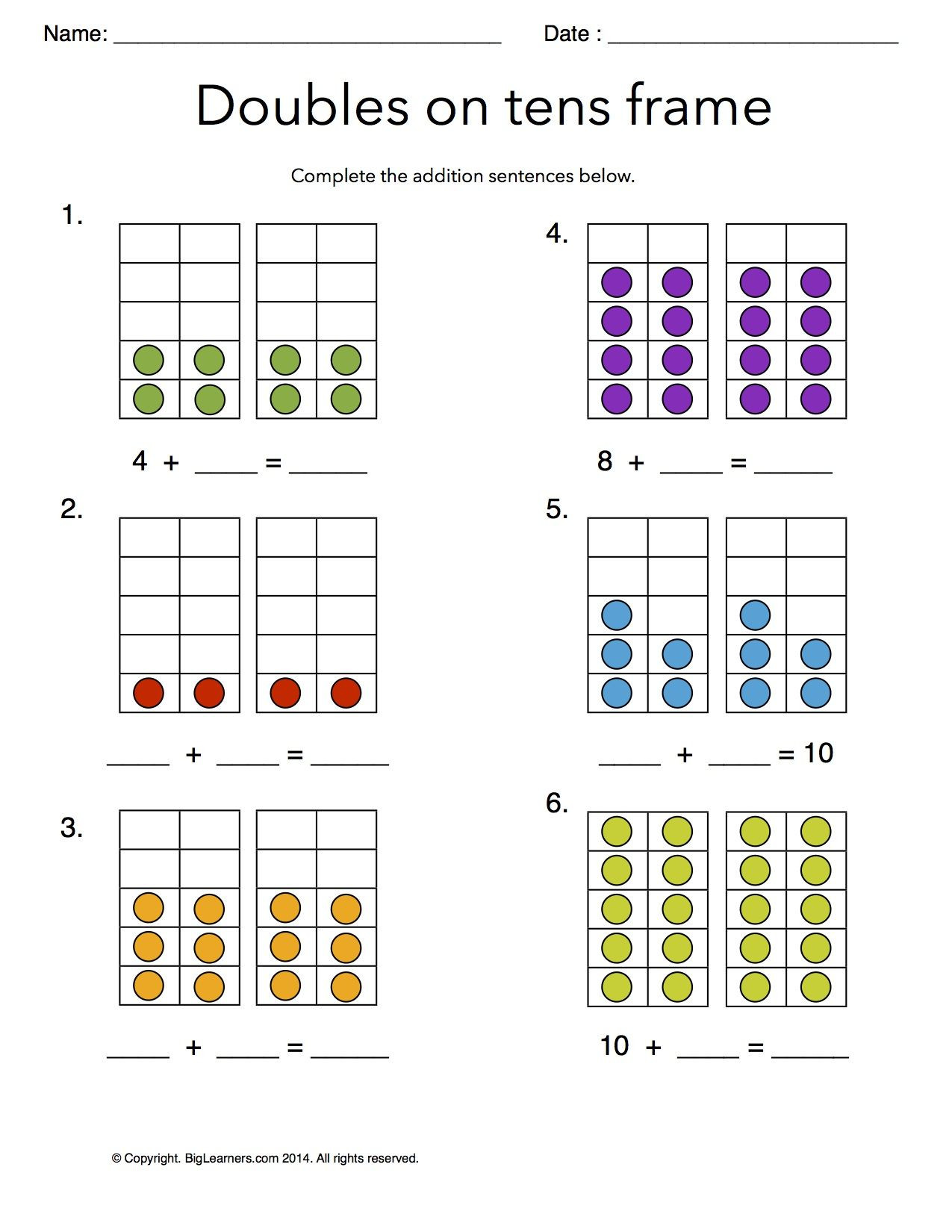 Ten Frame Worksheets First Grade Worksheet Doubles On Tens Frames