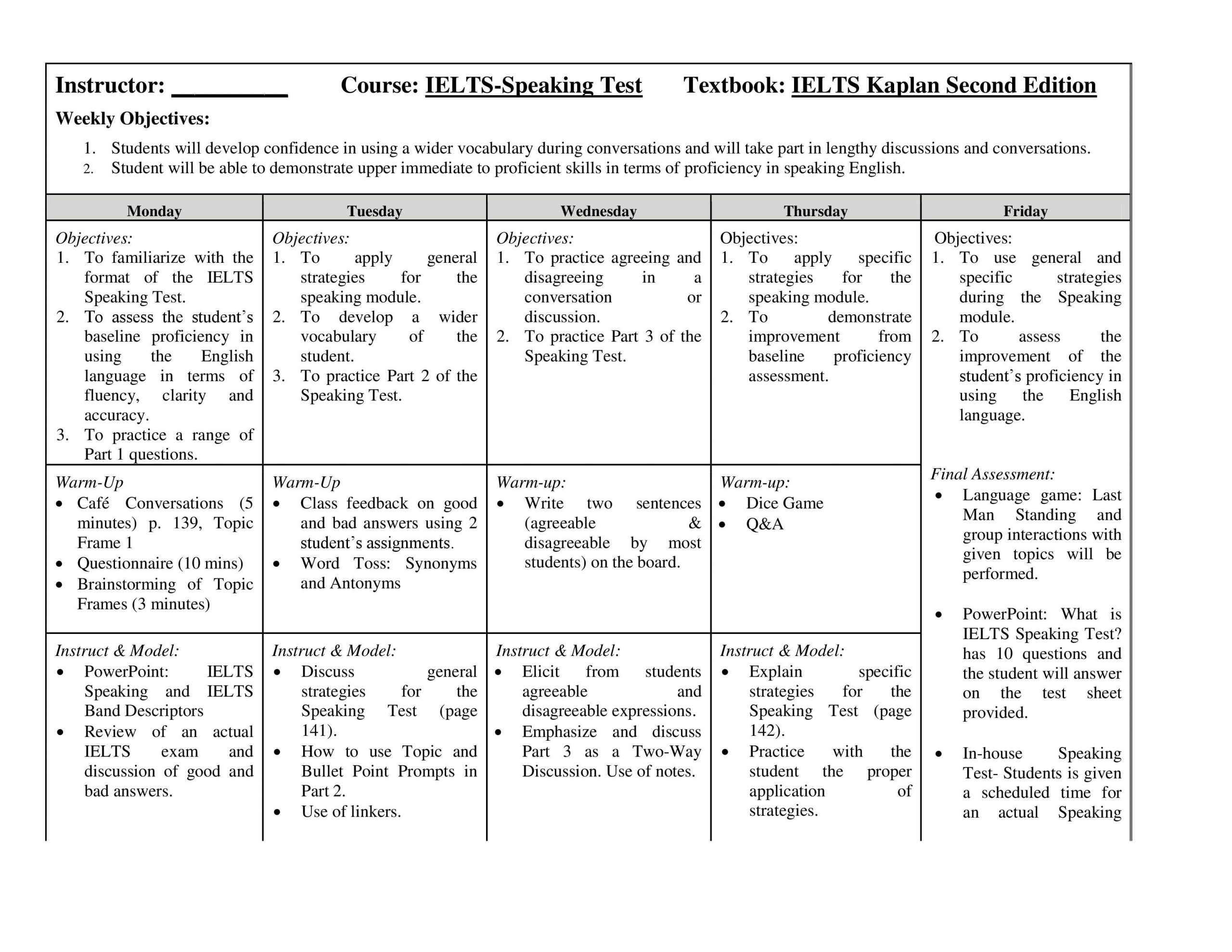 Test Taking Skills Worksheets Download E Week Ielts Lesson Plan Notes