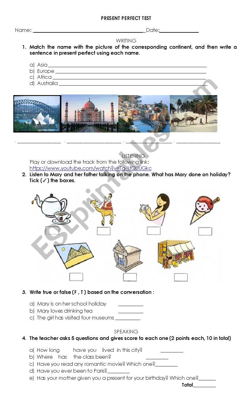 Test Taking Skills Worksheets Download Present Perfect Test for 4 Skills Esl Worksheet by Analozada84