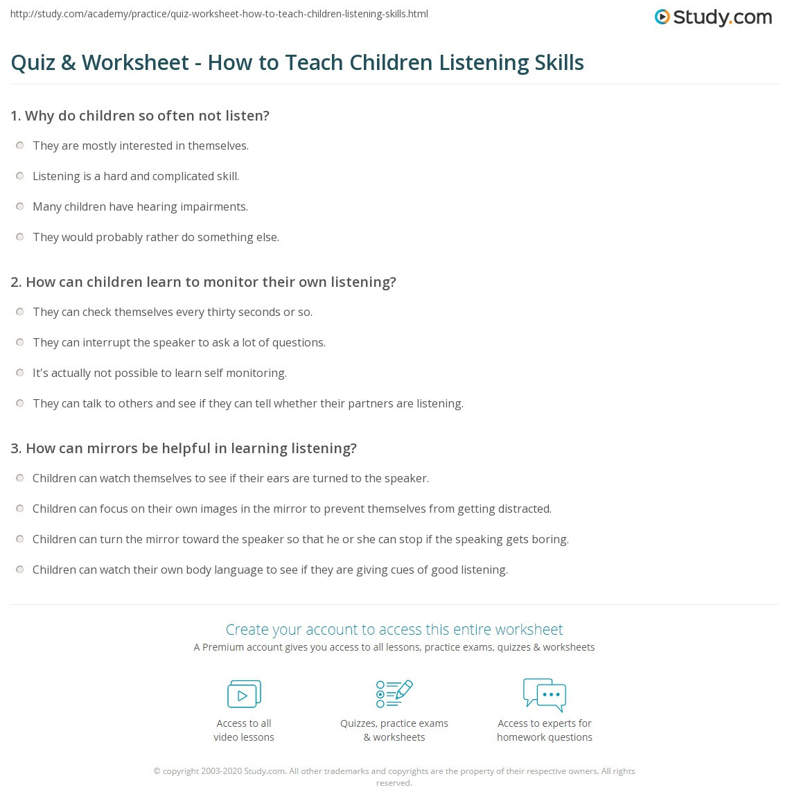 Test Taking Skills Worksheets Download Quiz & Worksheet How to Teach Children Listening Skills