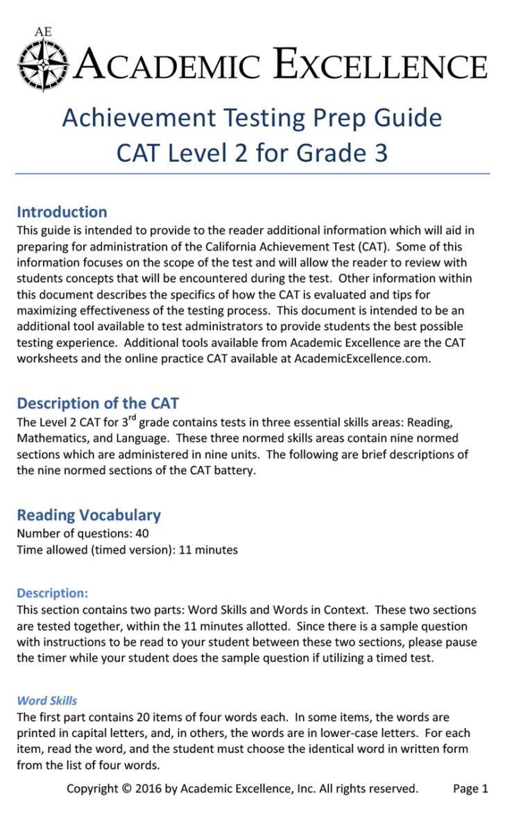 Test Taking Skills Worksheets Download Worksheet Cat Prep Pack Grade Pdf Download Academic