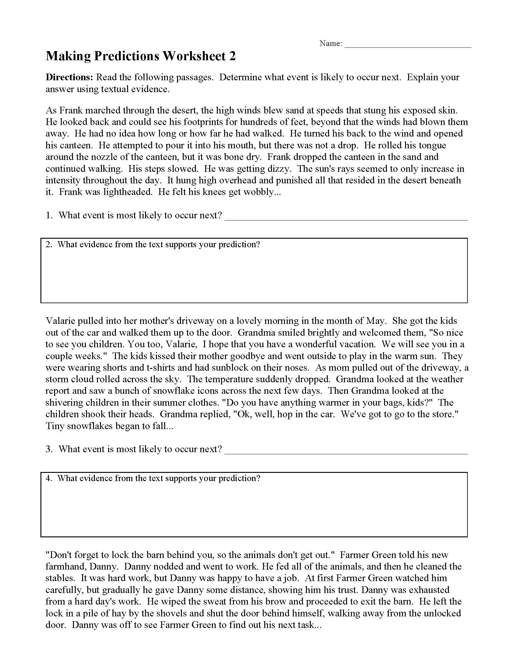 Text Evidence Worksheet 4th Grade Making Predictions Worksheets and Lessons