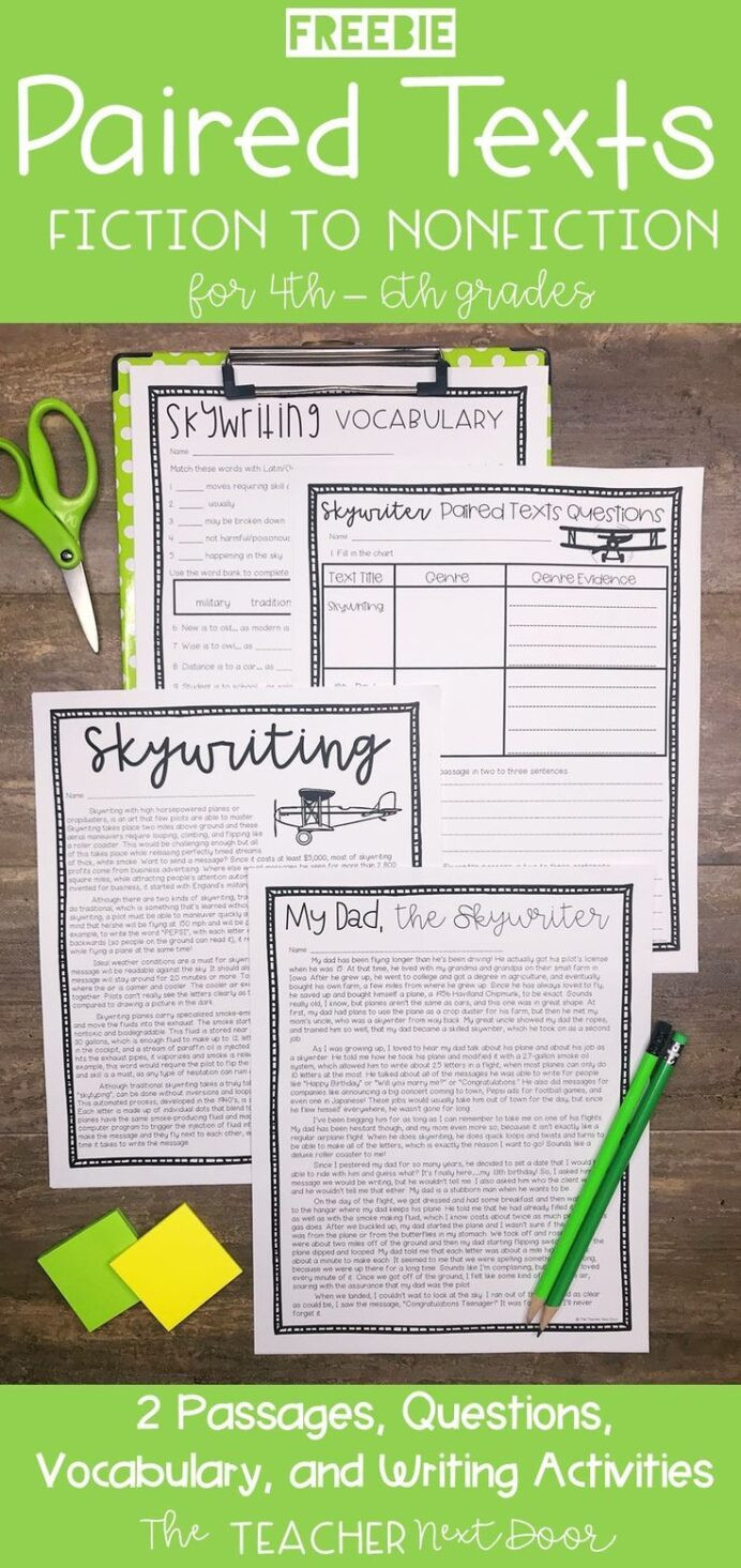 Text Evidence Worksheet 4th Grade Paired Texts Freebie for 4th 6th Grades Passages Grade