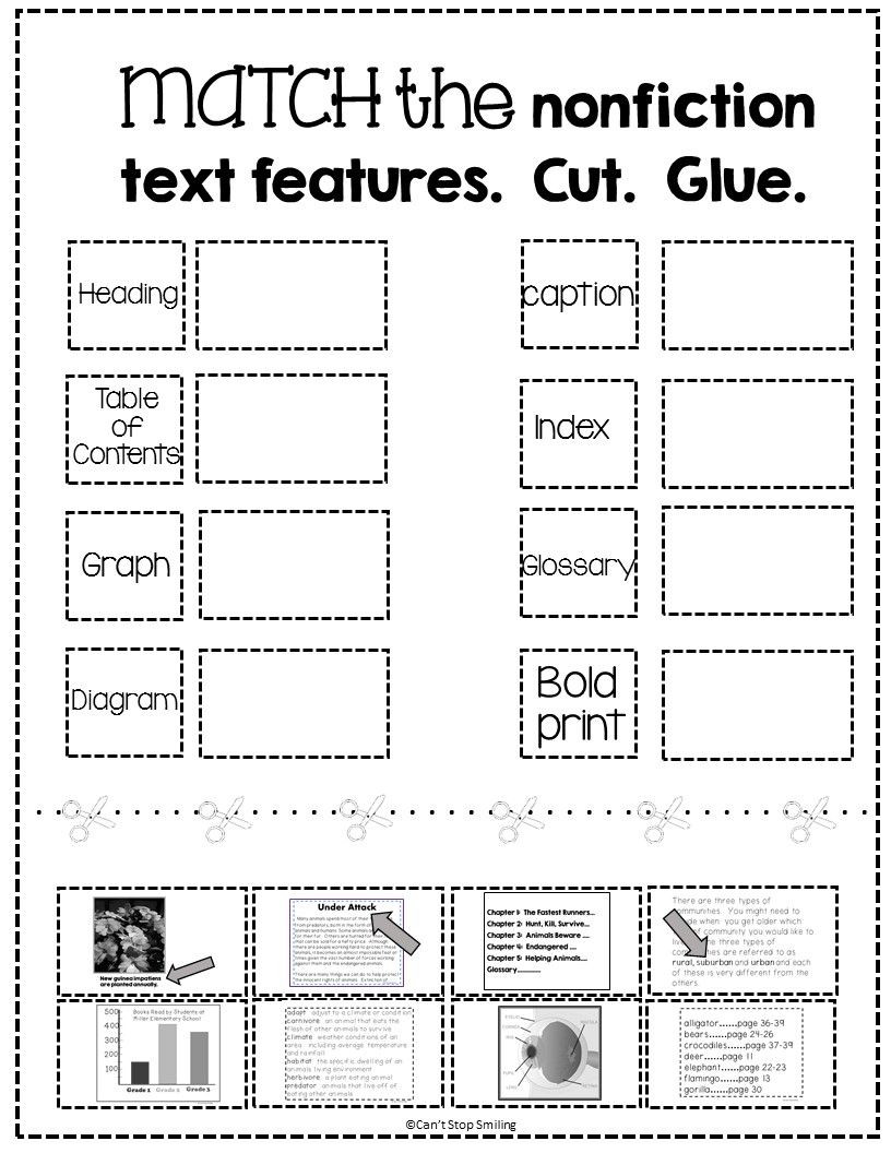 Text Features Worksheets 2nd Grade Free Nonfiction Text Features Matching Activity
