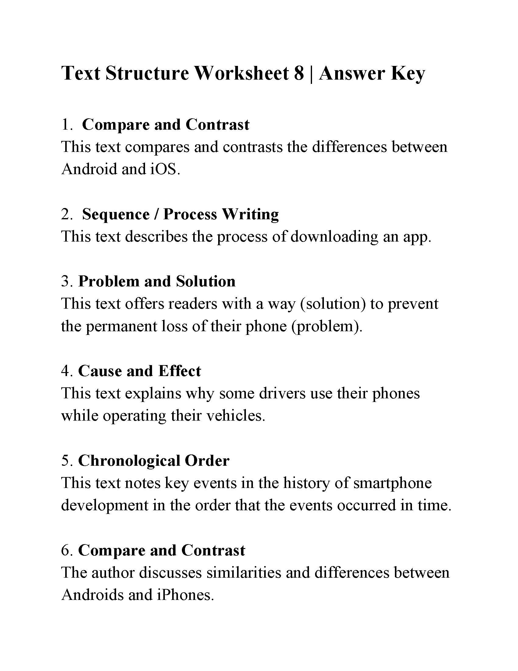 Text Structure Worksheets 3rd Grade Text Structure Worksheet Answers Ereading Worksheets Year