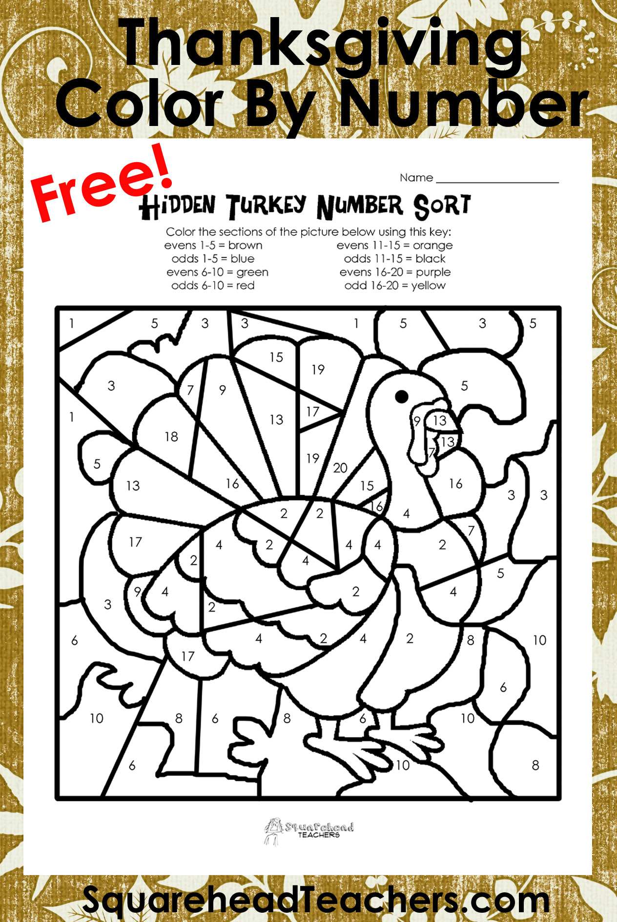 Thanksgiving Math Coloring Worksheets Thanksgiving Color by Number Odd evens sort Squarehead