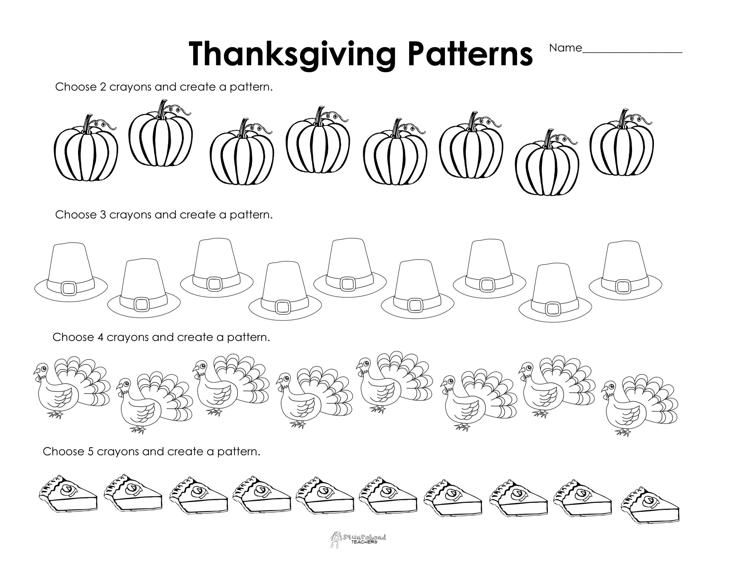Thanksgiving Math Worksheets First Grade Making Patterns Thanksgiving Style Free Worksheet