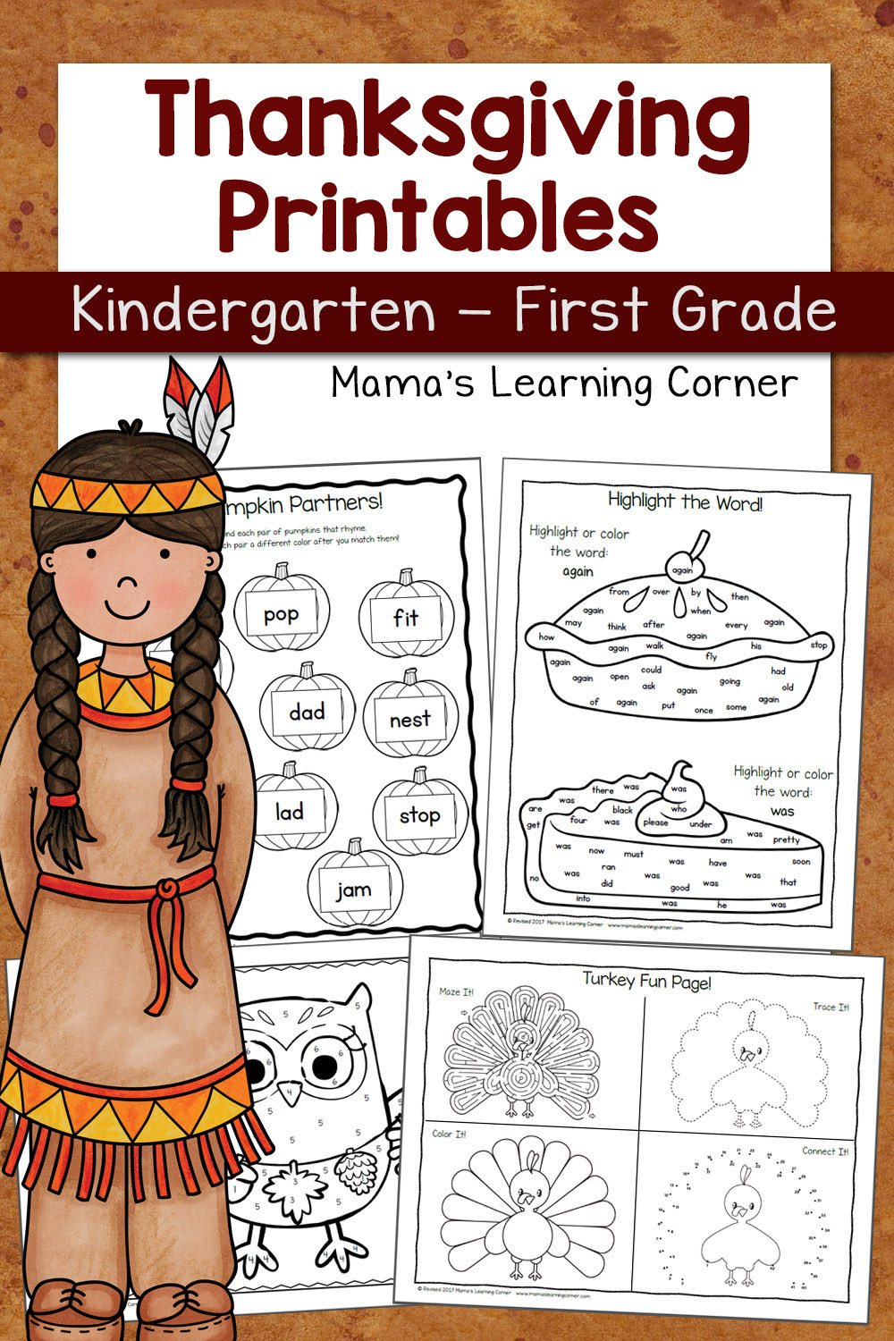 Thanksgiving Math Worksheets First Grade Thanksgiving Worksheets for Kindergarten and First Grade