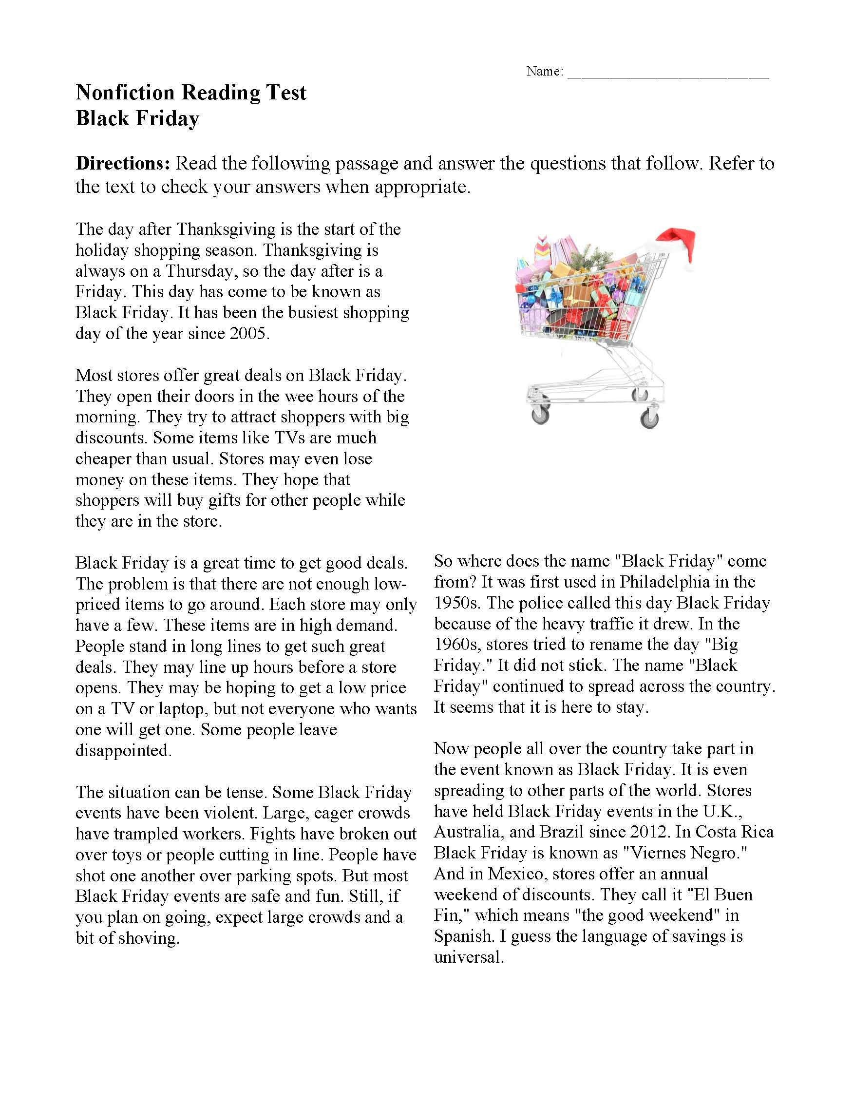 Thanksgiving Reading Comprehension Worksheets Black Friday