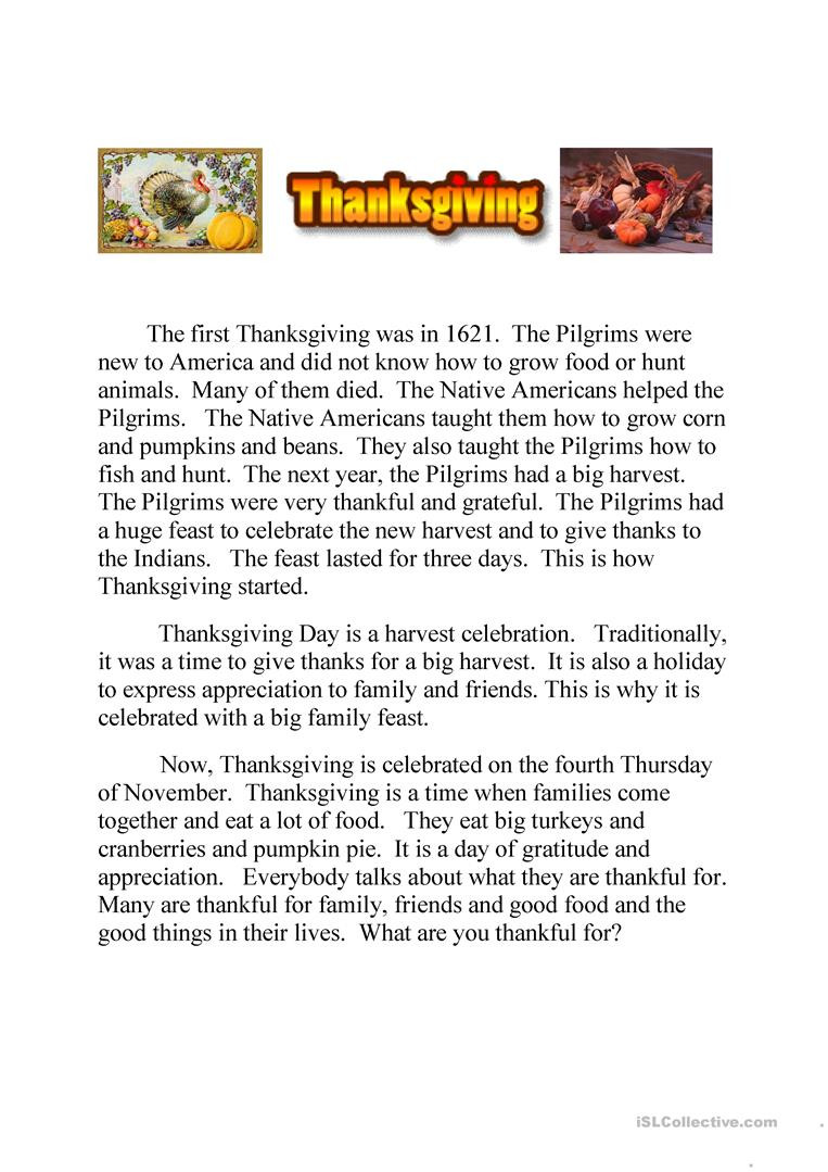 Thanksgiving Reading Comprehension Worksheets English Esl Thanksgiving Worksheets Most Ed 153