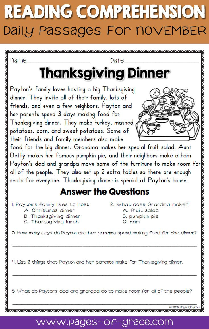 Thanksgiving Reading Comprehension Worksheets Reading Prehension Passages and Questions for November