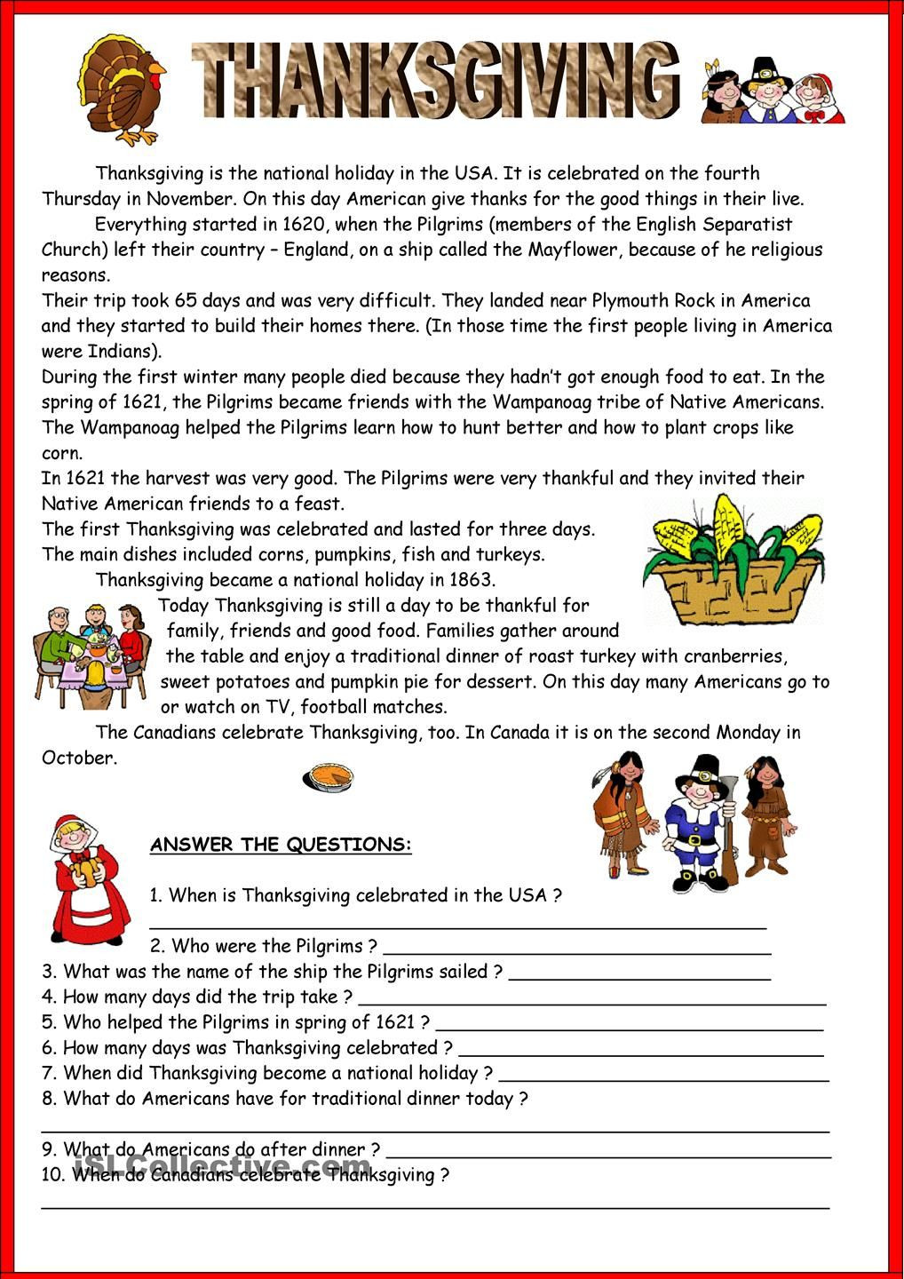 Thanksgiving Reading Comprehension Worksheets Thanksgiving & Key