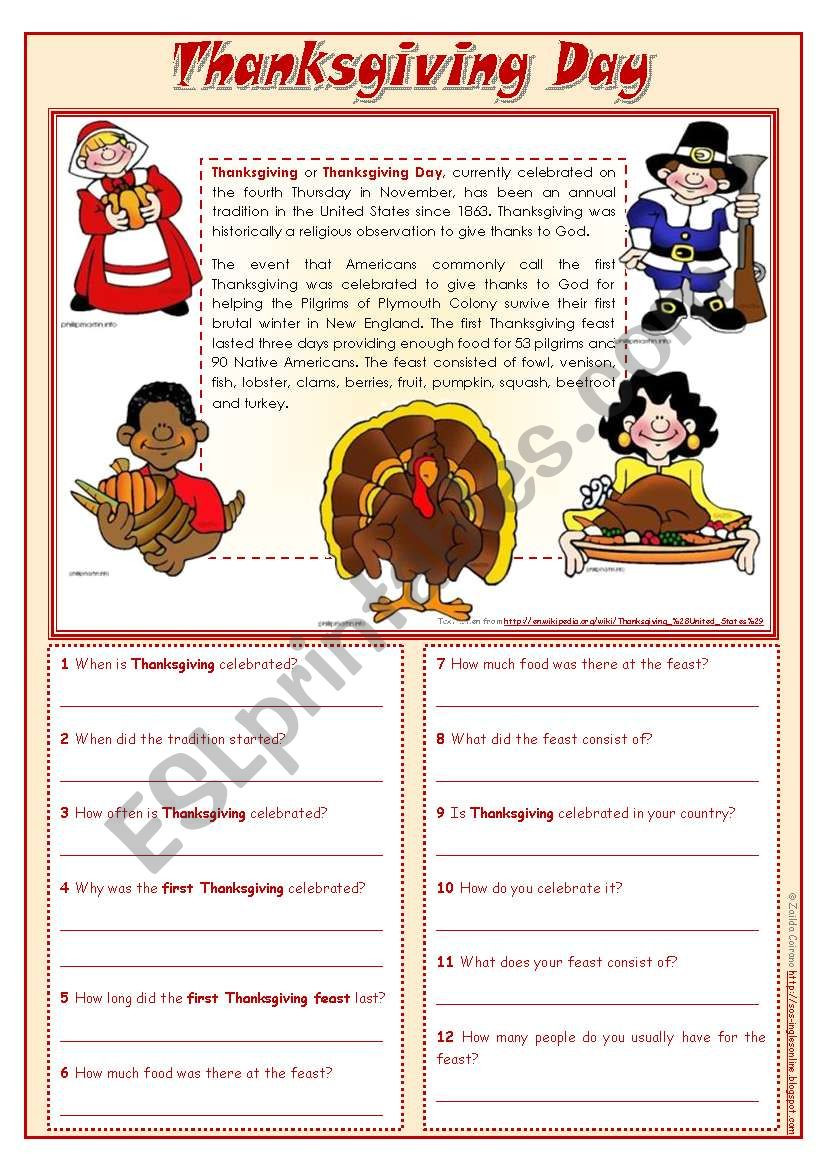 Thanksgiving Reading Comprehension Worksheets Thanksgiving Day Reading Prehension Editable Esl