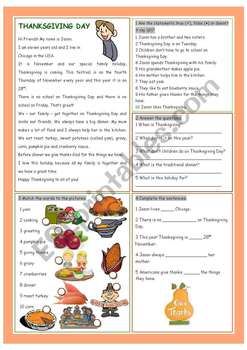 Thanksgiving Reading Comprehension Worksheets Thanksgiving Day Reading Prehension Esl Worksheet by