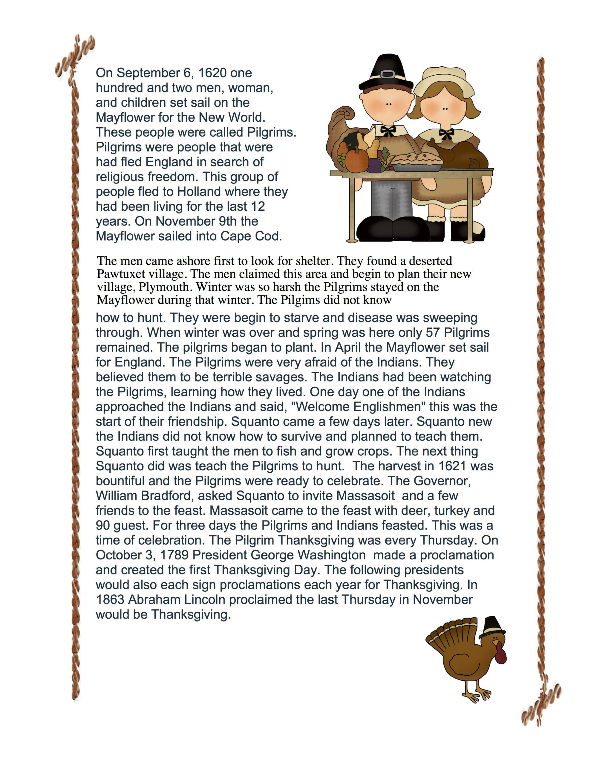 Thanksgiving Reading Comprehension Worksheets Thanksgiving Prehension