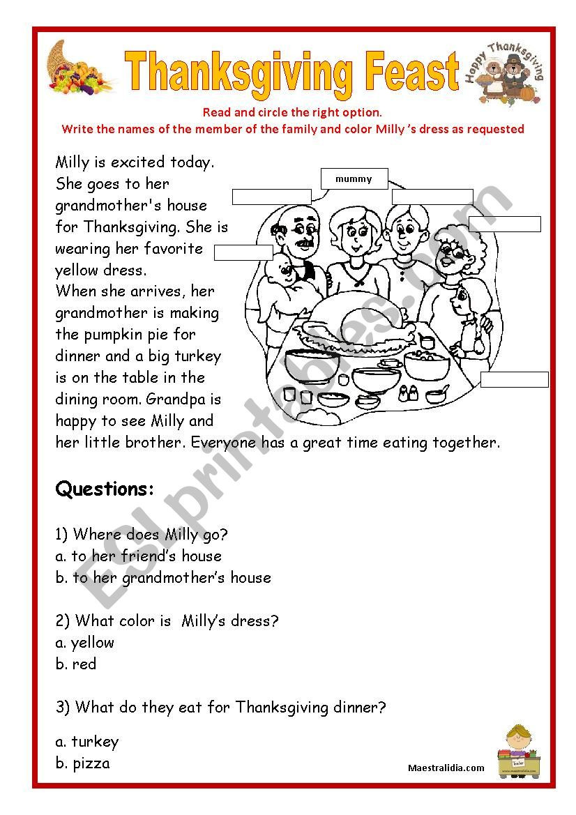 Thanksgiving Reading Comprehension Worksheets Thanksgiving Reading and Prehension Esl Worksheet by