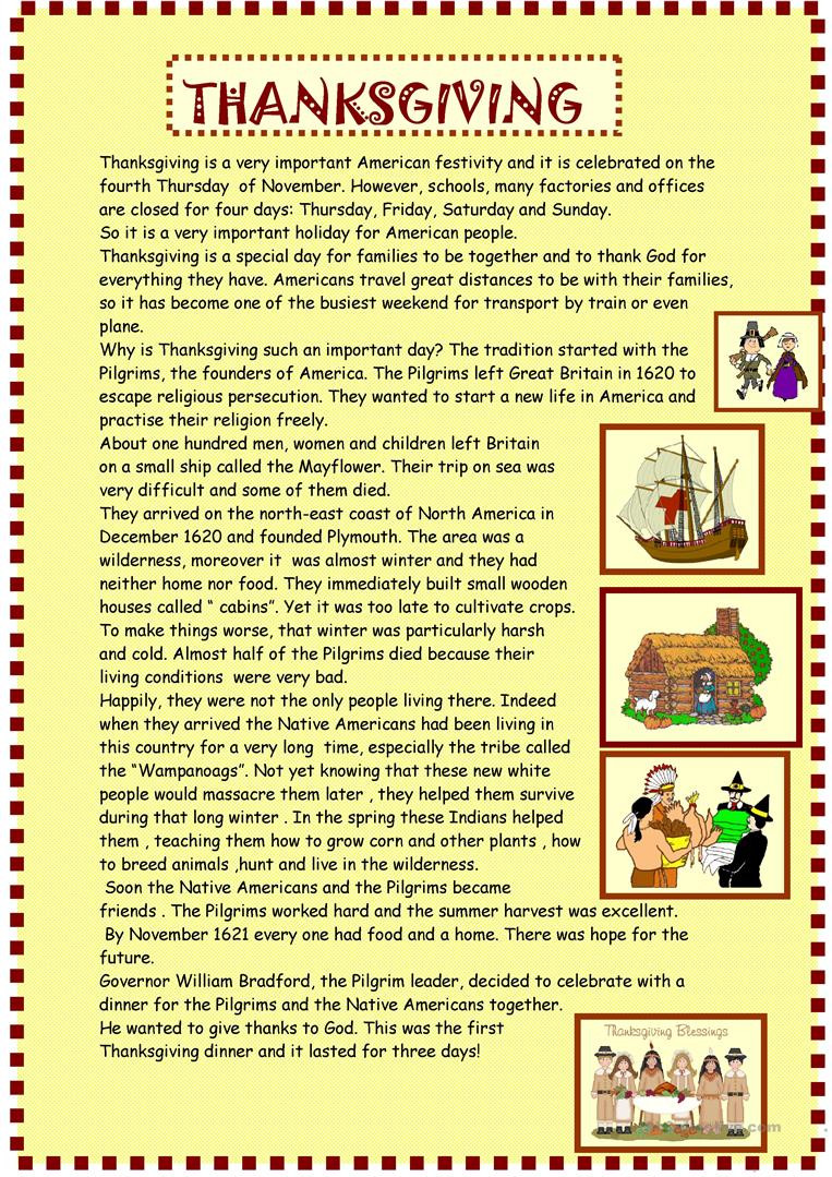 Thanksgiving Reading Comprehension Worksheets Thanksgiving Reading for Pre Intermediate English Esl