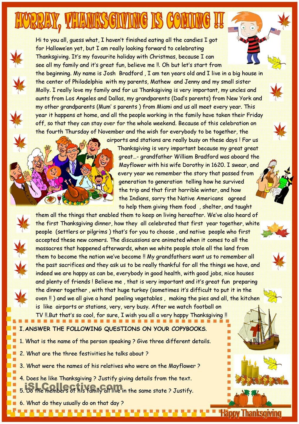 Thanksgiving Reading Comprehension Worksheets Thanksgiving Reading Prehension