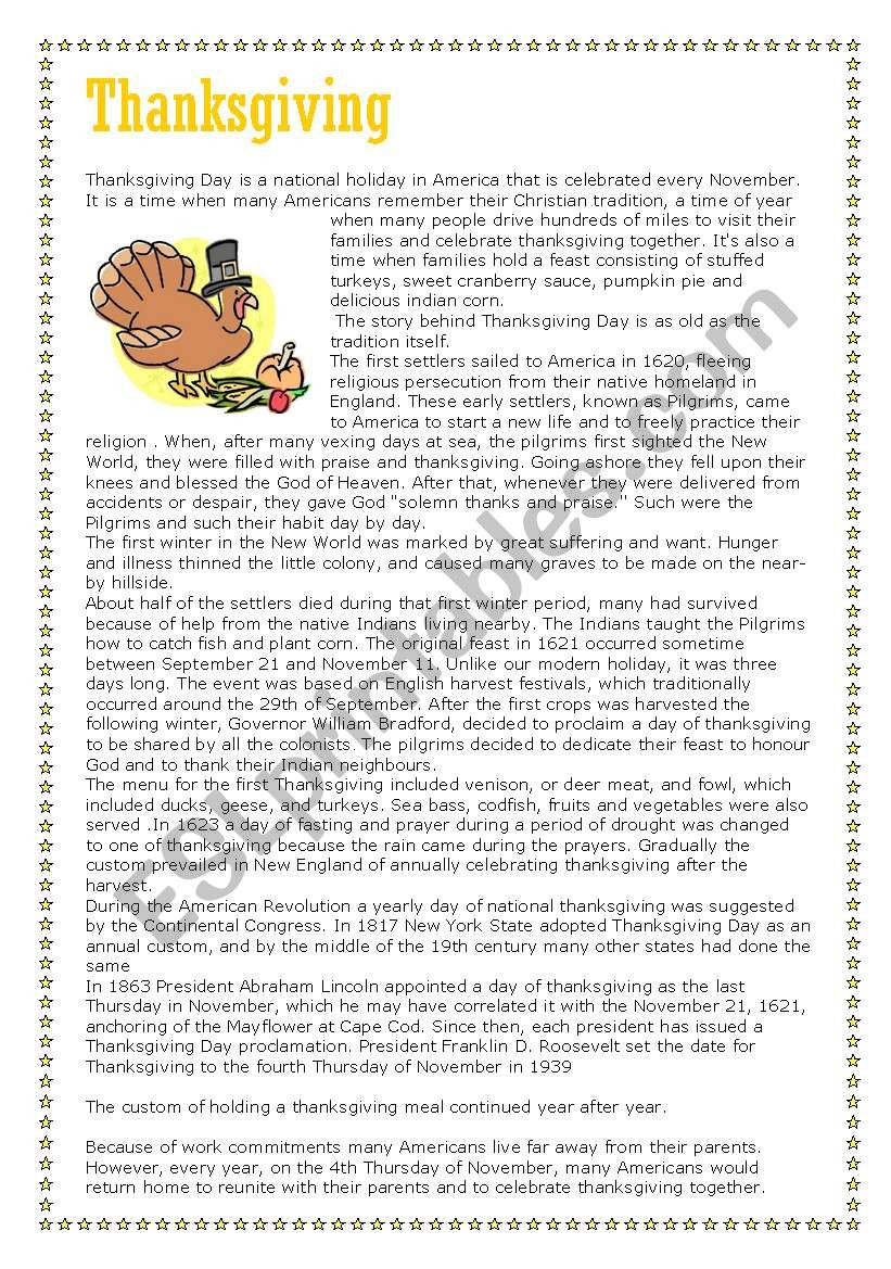 Thanksgiving Reading Comprehension Worksheets Thanksgiving Reading Prehension Part 1 Of 3 Text