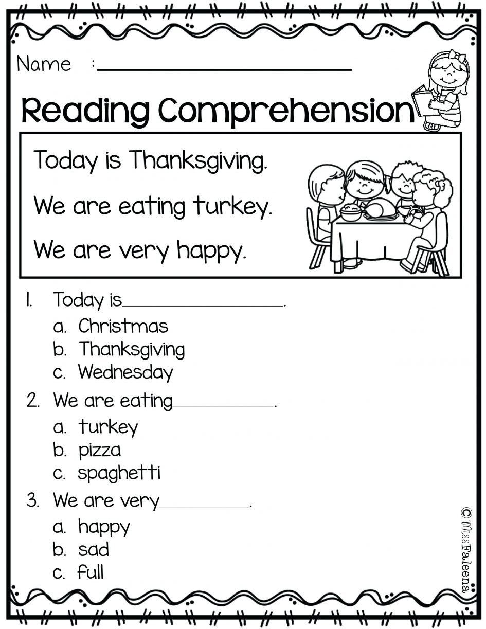 Thanksgiving Reading Comprehension Worksheets Thanksgiving Reading Prehension Worksheets
