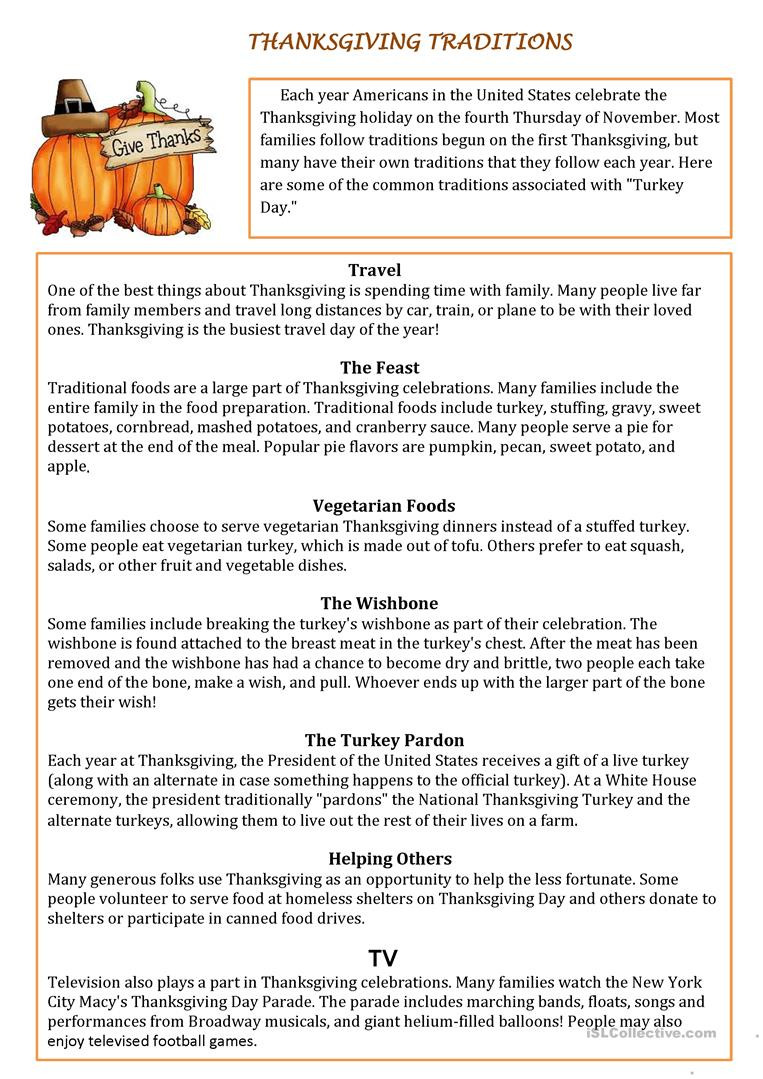 Thanksgiving Reading Comprehension Worksheets Thanksgiving Traditions English Esl Worksheets for