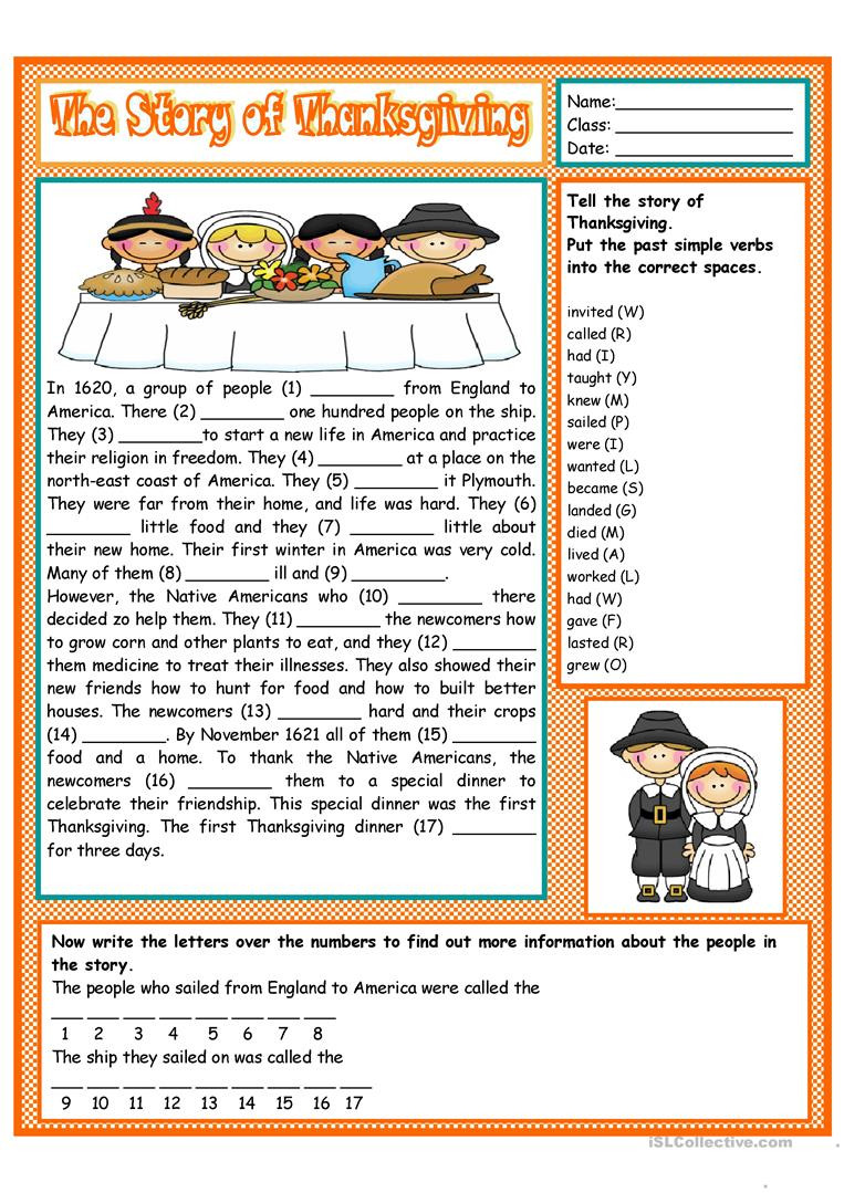 Thanksgiving Reading Comprehension Worksheets the Story Of Thanksgiving English Esl Worksheets for