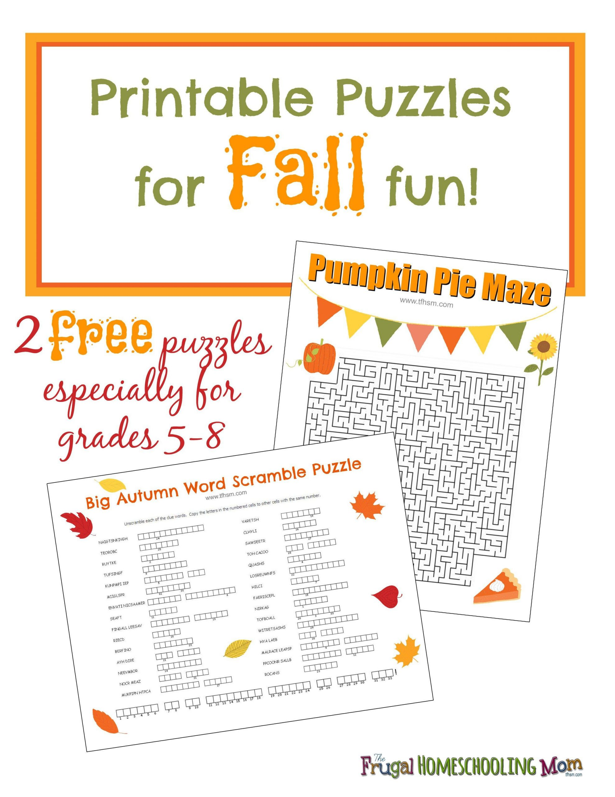 Thanksgiving Worksheets for Middle School Free Fall Printable Puzzles