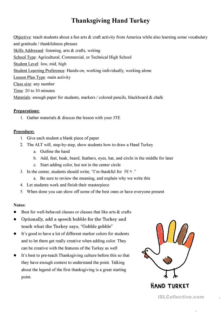 Thanksgiving Worksheets for Middle School Thanksgiving Hand Turkey Lesson Plan English Esl