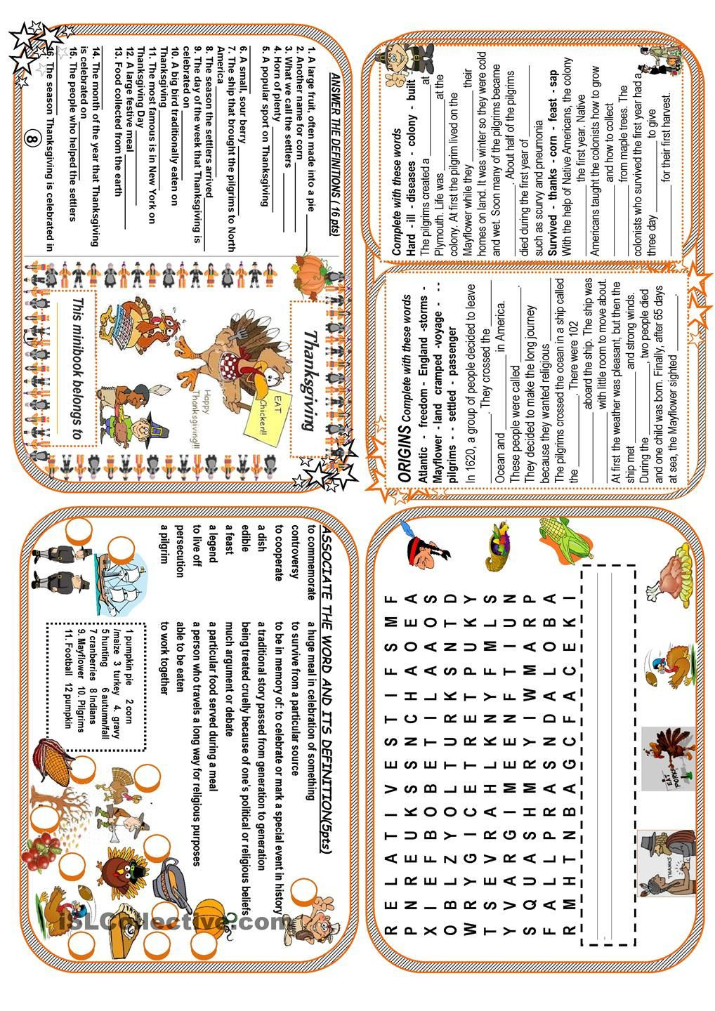Thanksgiving Worksheets for Middle School Thanksgiving Minibook