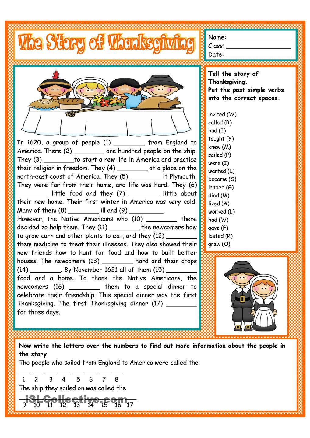 Thanksgiving Worksheets for Middle School the Story Of Thanksgiving