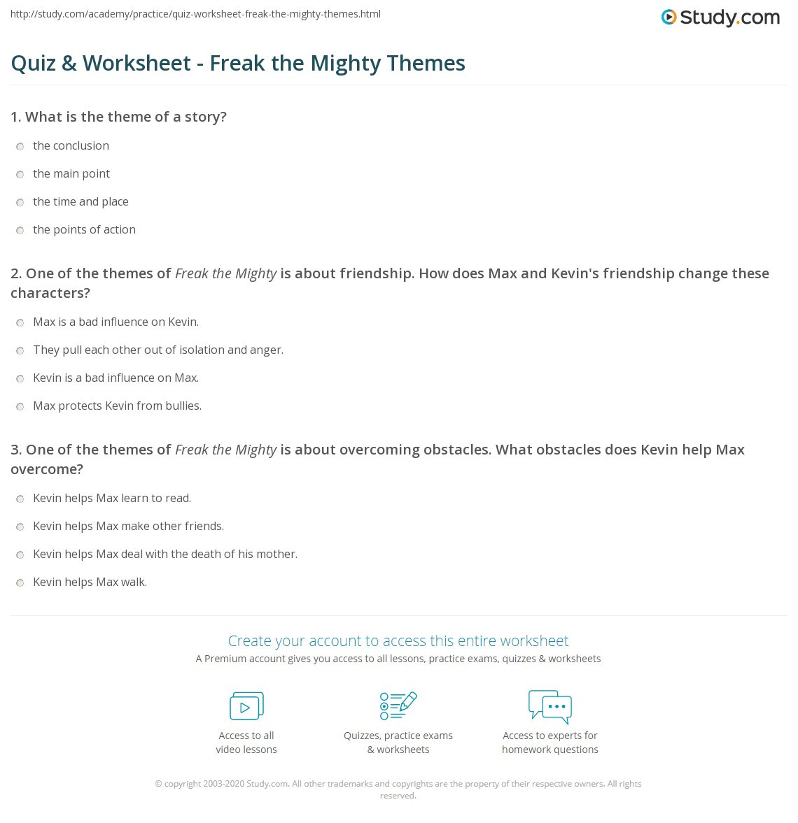 Theme Worksheet Middle School Quiz & Worksheet Freak the Mighty themes