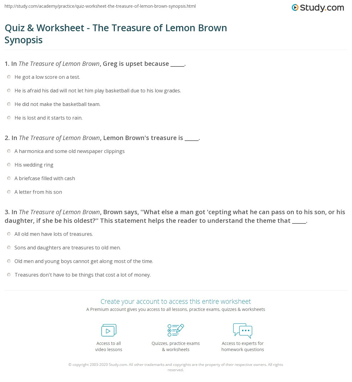 Theme Worksheet Middle School Quiz & Worksheet the Treasure Of Lemon Brown Synopsis