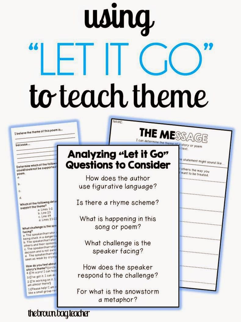 "Theme Worksheet Middle School the Brown Bag Teacher Reviewing theme with Frozen S ""let It"